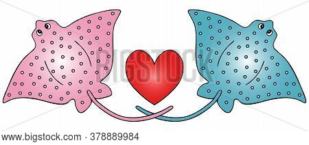 Stingray Fish And Heart. Vector Illustration. Isolated White Background. Cartoon Style. A Couple. A