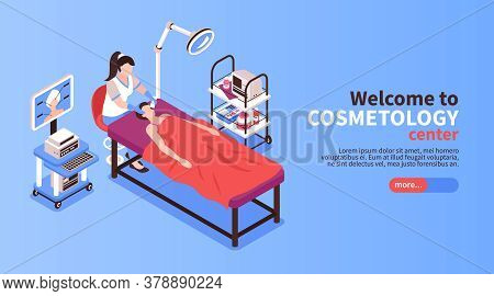 Isometric Cosmetologist Horizontal Banners With Text More Button And Images Of Medical Apparatus Dur