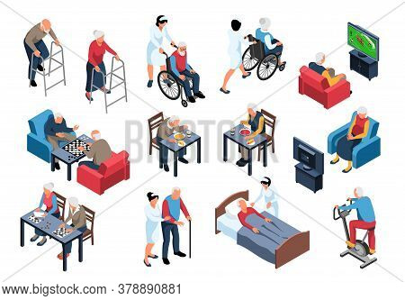 Nursing Home Elderly Care Isometric Set With Staff Assisting Residents With Meals Walking Playing Ch