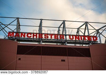 MANCHESTER, UK - FEB 24, 2020: Manchester United Football Club home stadium exterior view.