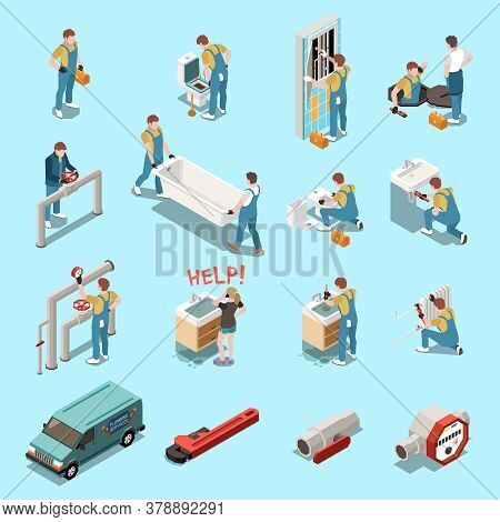 Plumber Isometric Icon Set With Isolated Figures And Elements Equipment Tools Car And Workers Vector