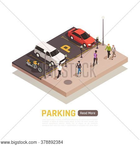 Perpendicular Parking Along Sidewalk Isometric Web Page Composition With Parked Cars Motorcycle Pass