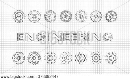 Mechanical Engineering Drawings. Technical Drawing.engineering - Science, Cogwheel Flat Machine Gear