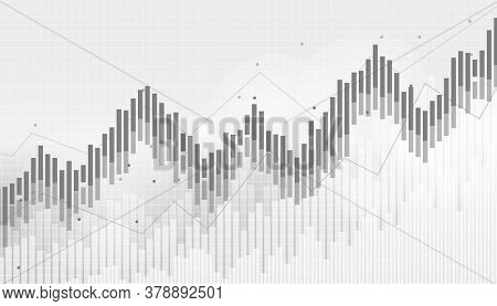 Abstract Financial Chart With Uptrend Line Graph In Stock Market On Black And White Background.growi