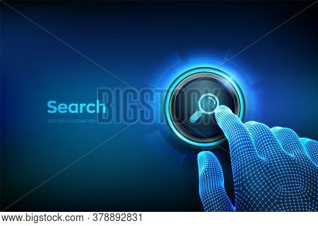 Search Button. Closeup Finger About To Press A Button With Search Icon. Searching Browsing Internet