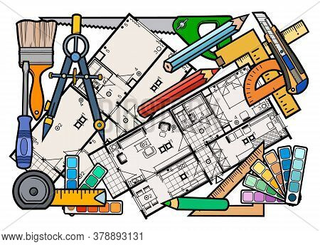 Cartoon Doodles Funny Hand Drawn Repair Tools Illustration. Many Drafting Objects Vector Background.