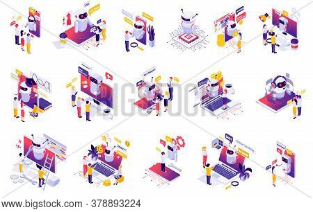 Chatbot Messenger Ai Applications Isometric Set With Personal Time Finance Business Manager Bot Crea