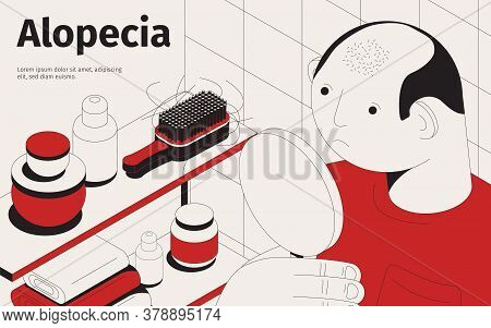 Baldness Alopecia Isometric Background With Editable Text And Character Of Balding Man With Mirror A