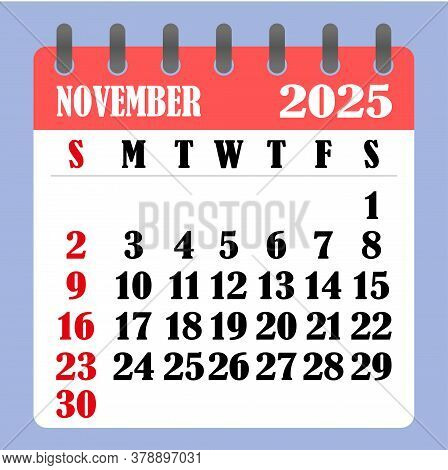 Letter Calendar For November 2025. The Week Begins On Sunday. Time, Planning And Schedule Concept. F