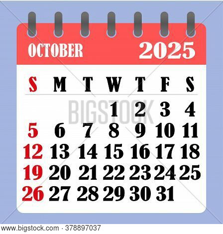 Letter Calendar For October 2025. The Week Begins On Sunday. Time, Planning And Schedule Concept. Fl