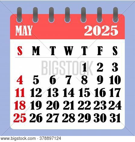 Letter Calendar For May 2025. The Week Begins On Sunday. Time, Planning And Schedule Concept. Flat D