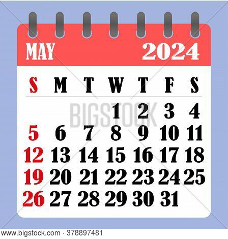 Letter Calendar For May 2024. The Week Begins On Sunday. Time, Planning And Schedule Concept. Flat D