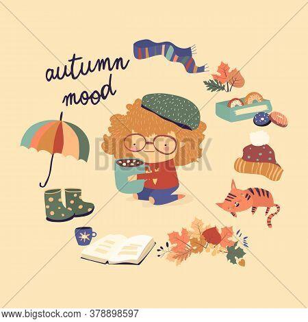 Cute Cartoon Girl With Autumn Elements. Autumn Mood