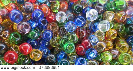 Rainbow Glass Beads Baner. Colorful Background. Crafting And Jewelry Making. Diy Kit. Hobby, Craftin