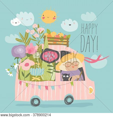 Cartoon Happy Grandmother Driving A Car With Flowers