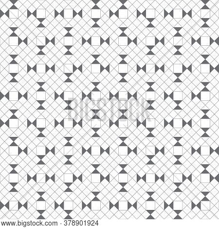 Vector Seamless Pattern. Modern Stylish Texture With Outline Geometric Shapes. Regularly Repeating G