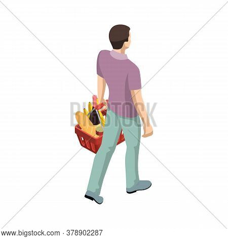 Man With Grocery Basket Cart From Supermarket On White Isolated Background. Isometric Shopping Marke