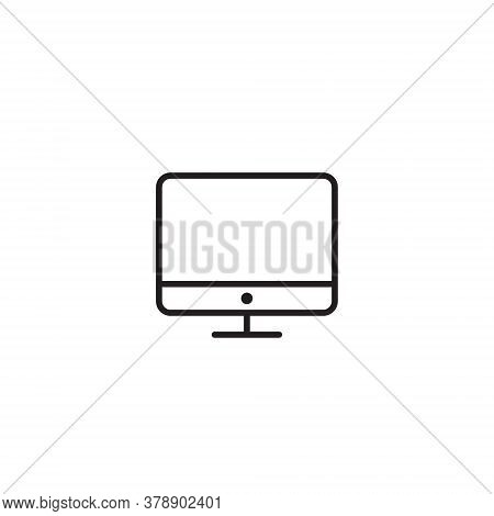 Computer Monitor Icon Vector In Trendy Outline Style. Pc Screen Symbol Illustration - Editable Strok