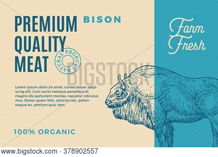 Premium Quality Buffalo. Abstract Vector Meat Packaging Design Or Label. Modern Typography And Hand
