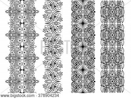 Vector Seamless Pattern With Floral Elements, Black Trim Pattern Set, Stylized Lace Symmetric Orname