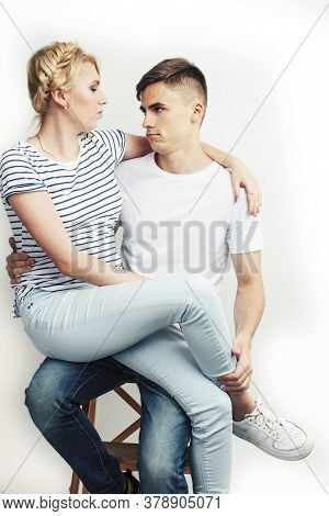 Young Pretty Teenage Couple, Hipster Guy With His Girlfriend Happy Smiling And Hugging Isolated On W