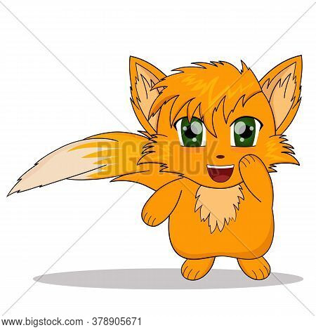 Cartoon Fox. Anime Happiness Fox. Vector Illustration Of Sticker Fox Laughing.