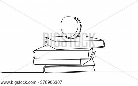 Books And An Apple One Line Drawing Of Pile Of Books. Stack Of Book On Desk. Tidy Books Lined Up. Si