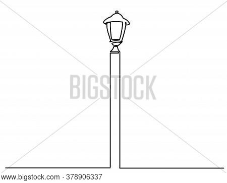 City Street Lantern. Streetlight Vintage Lamp Icons Isolated On White Background. Flat Thin Line Des