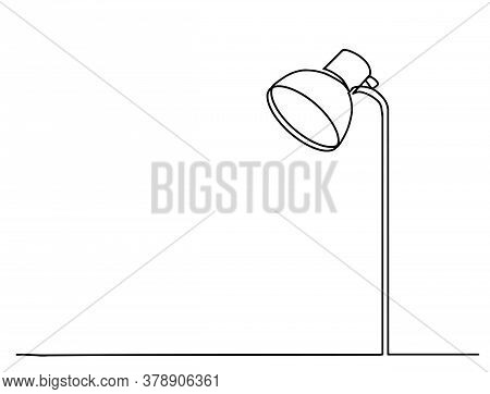 Continuous One Line Drawing. Lamp On The Table. Vector Illustration. One Continuous Drawn Line Art D