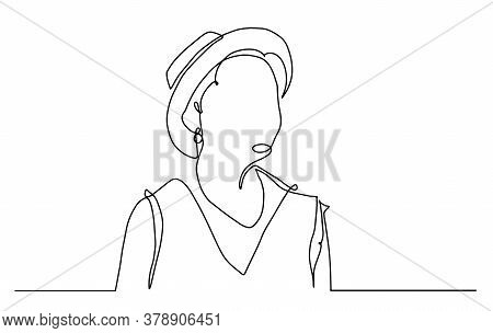 Woman In Hat Vector Line Art. Line Illustration. Minimalist Print. Black And White. Beauty Logo. Por