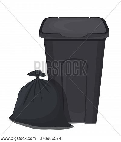 Vector Illustration Of Trash Can And Garbage Bag. Garbage Bin.
