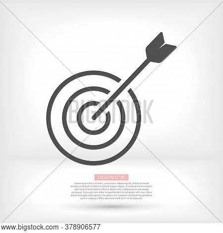 Target With An Arrow Flat Icon Concept Market Goal Vector Picture Image. Concept Target Market, Audi