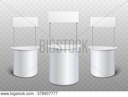 Blank White Promo Stand Set - Realistic Mock Up Of Rounded Promotional Counters With Rectangle Banne