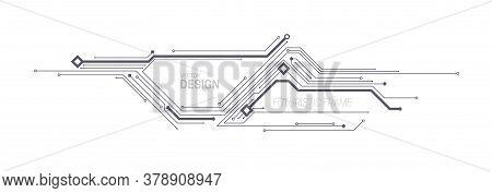 Futuristic Frame Design. Vector Illustration. Hud Element. Circuit Board Or Chip Pattern. Technology