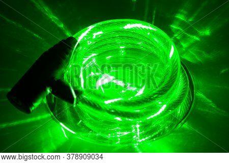 Compact Disk (cd) Under Green Laser Beam