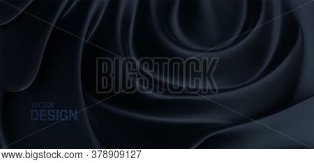Black Organic Backdrop. Abstract Carbon Background. Vector 3d Illustration. Minimalist Cover Templat