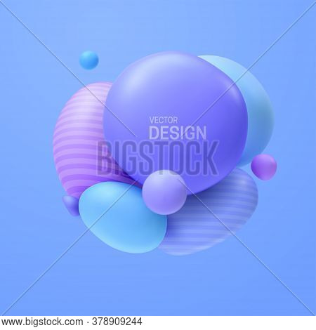 Abstract Composition With 3d Spheres Cluster. Colorful Glossy Bubbles. Vector Realistic Illustration