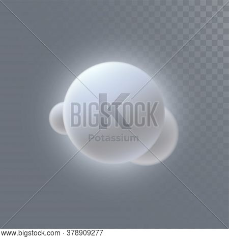 Potassium Mineral Icon Isolated On Transparent Background. Vector 3d Illustration. Diet Supplement.