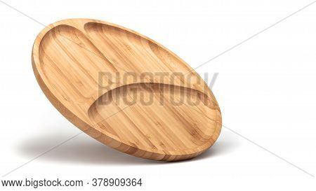 Flying Empty Wooden Bowl Or Tray For Fruits Secs And Nuts Top View Isolated On White.