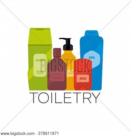 Toiletries Flat Vector Illustration. Personal Care And Hygiene Products, Such As Shampoo, Moisturize