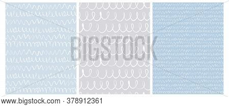 Abstract Hand Drawn Childish Style Vector Pattern Set. White Waves, Lines With Loops And Wavy Lines