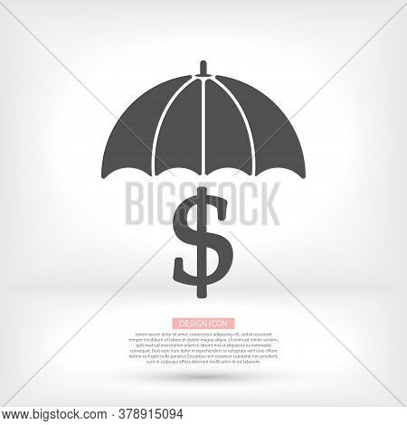 Black Umbrella With Black Pound Sterling Signs Under It. Vector Flat Icon Isolated On White. Money R