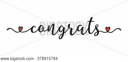 Hand Sketched Congrats Word As Ad, Web Banner. Lettering For Banner, Header, Card, Flyer, Poster