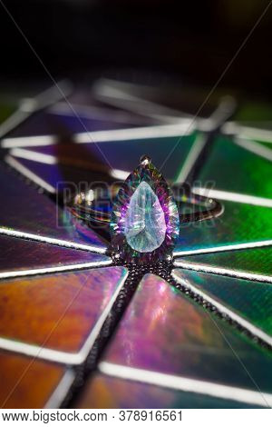 Modern Silver Ring With Mystic Topaz