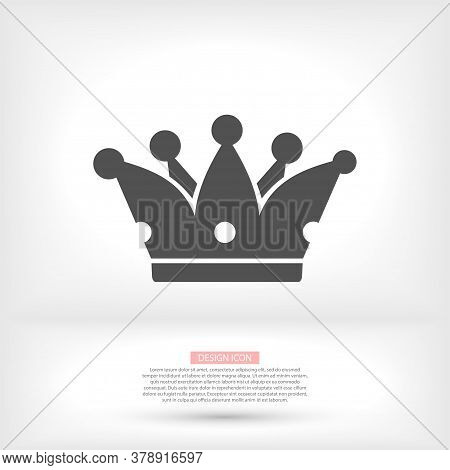 Crown Icon In Trendy Flat Style Isolated On Grey Background. Crown Symbol For Your Web Site Design,