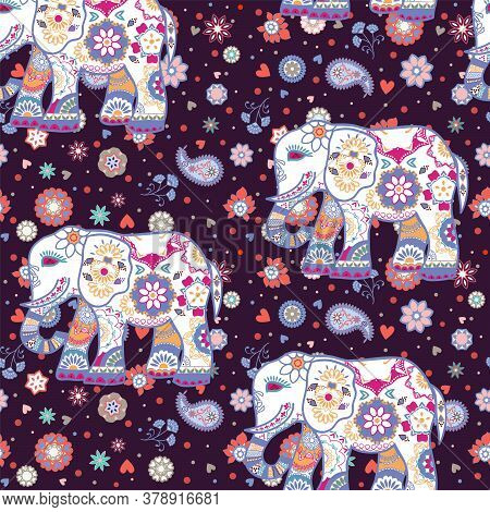Seamless Pattern With Stylized Ornamental Elephants In Indian Style. Beautiful Ethnic Floral Backgro