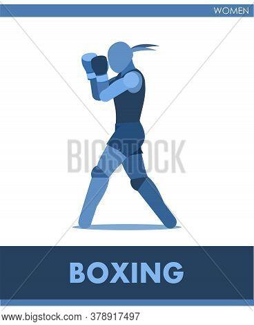 Boxing Vector Icons. Female Match On Ring. Pictogram Women Sport Training. Logo. Fight Girls. Symbol