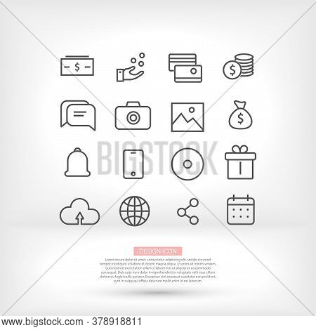 Business Icons Set Of Vector Money Design Hand Phone Planet Camera Gift