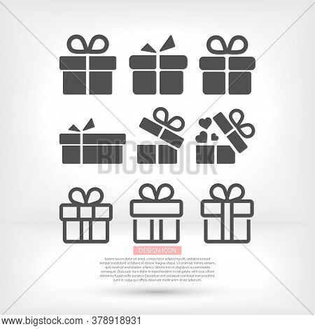Gift Boxes, Vector Work Set Icon Festive Box Heart Box