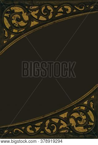 Dark Background With Vintage Iron Ornate Borders
